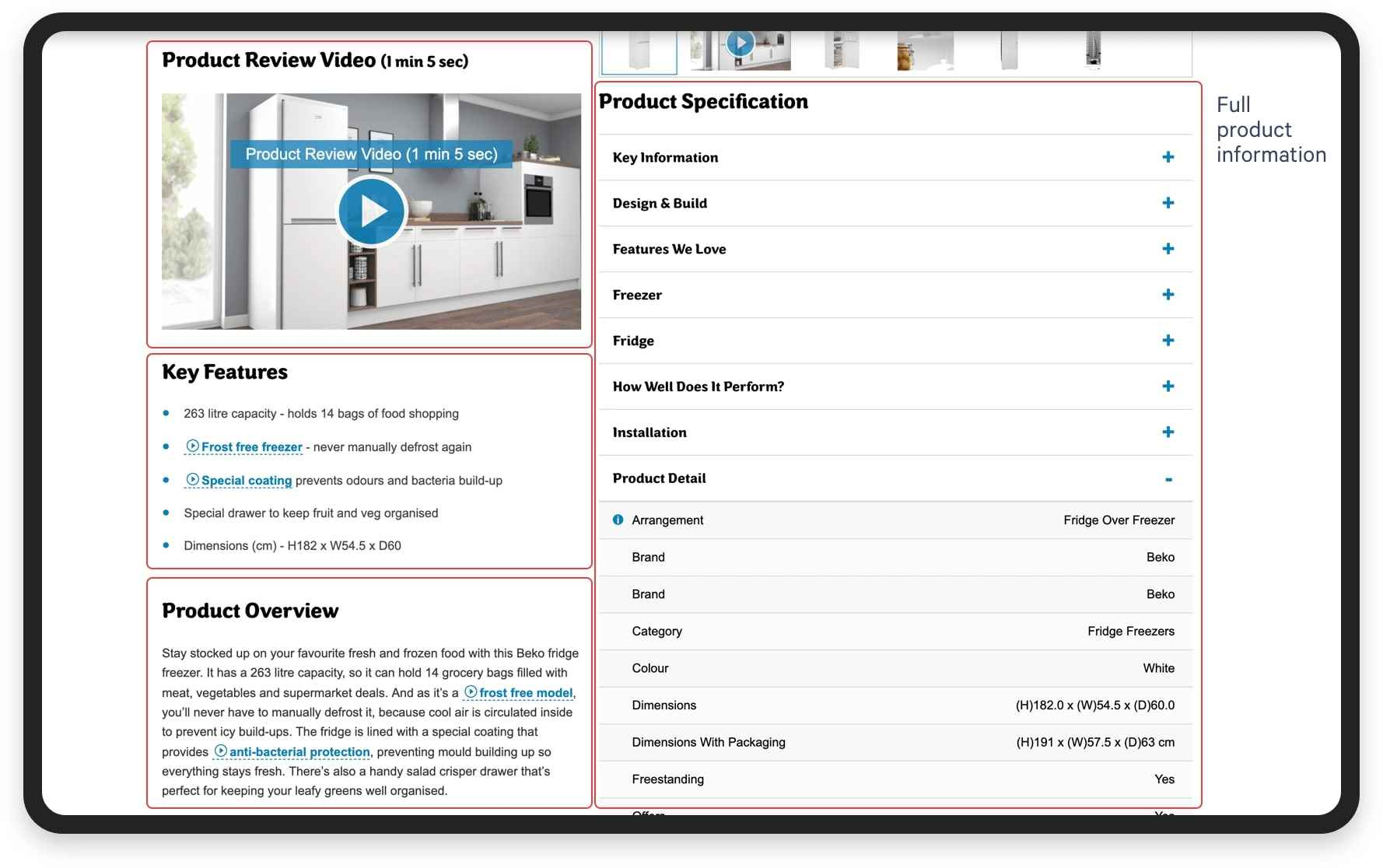 Example of product description on AO marketplace | Codica