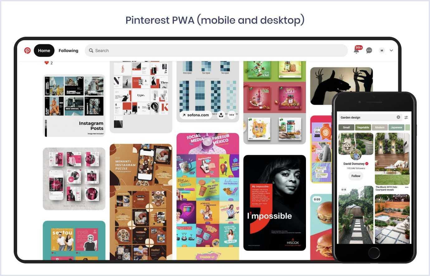 Pinterest PWA website