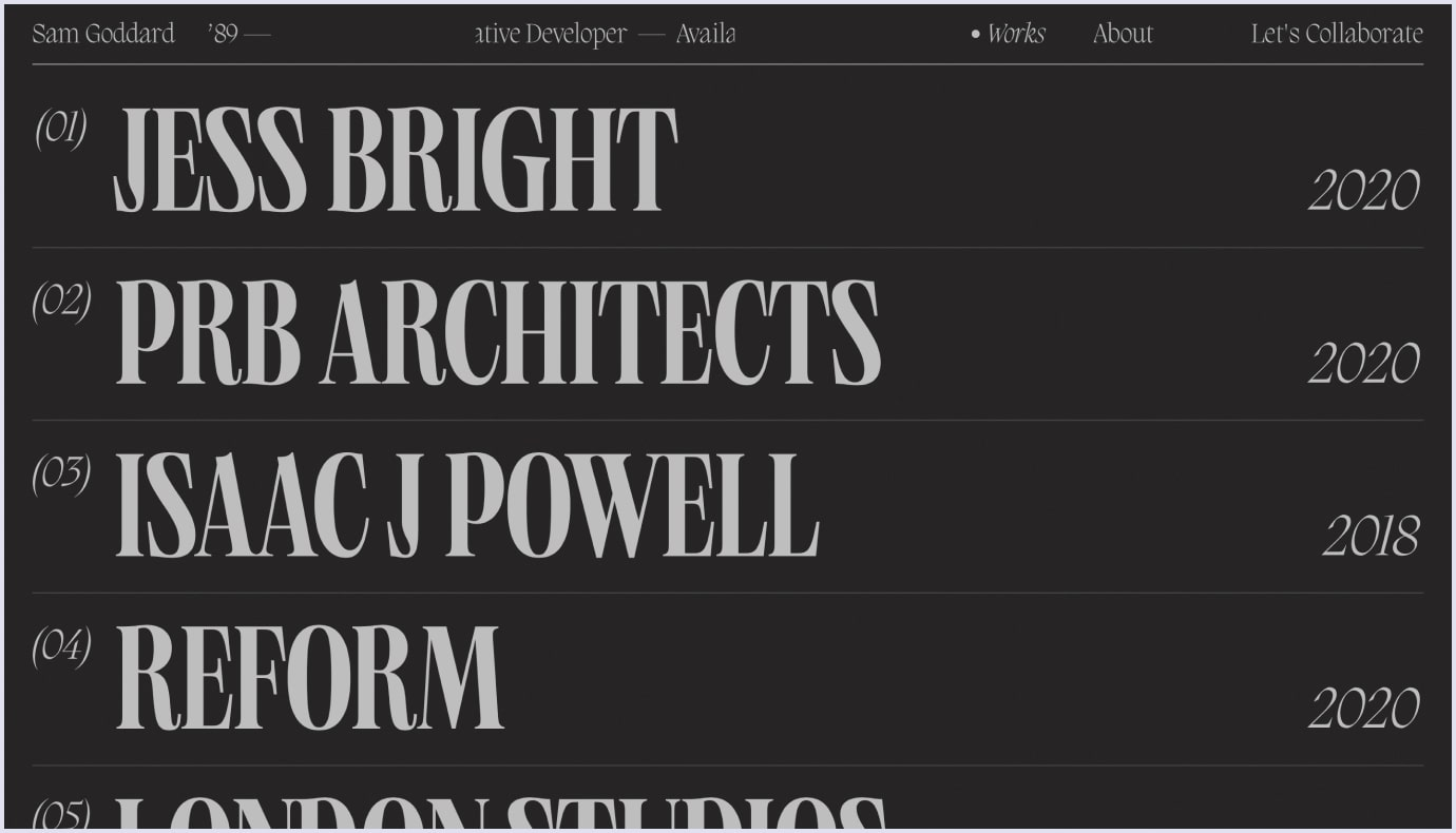 Complex typography as a web design trend on Sam Goddard's website