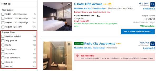 Filters as an important marketplace feature on Booking.com   Codica