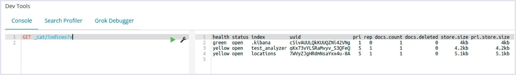 Implementing Elasticsearch: Kibana dev tools screenshot