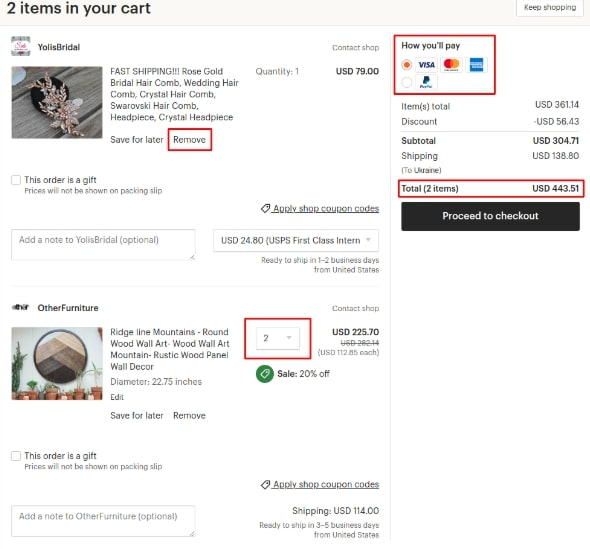 Shopping cart as a key marketplace feature on Etsy | Codica