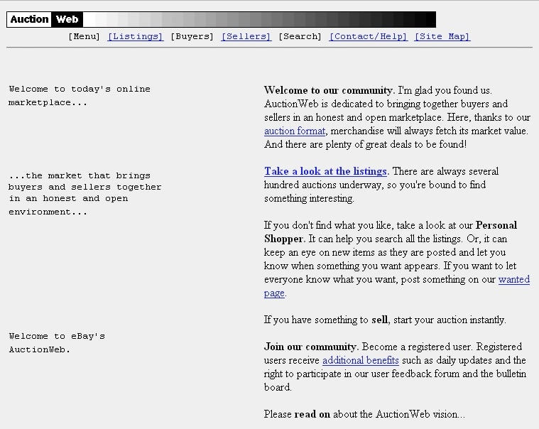 The first version of eBay's website called AuctionWeb
