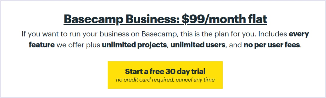 Flat-rate pricing model adopted by SaaS product Basecamp | Codica