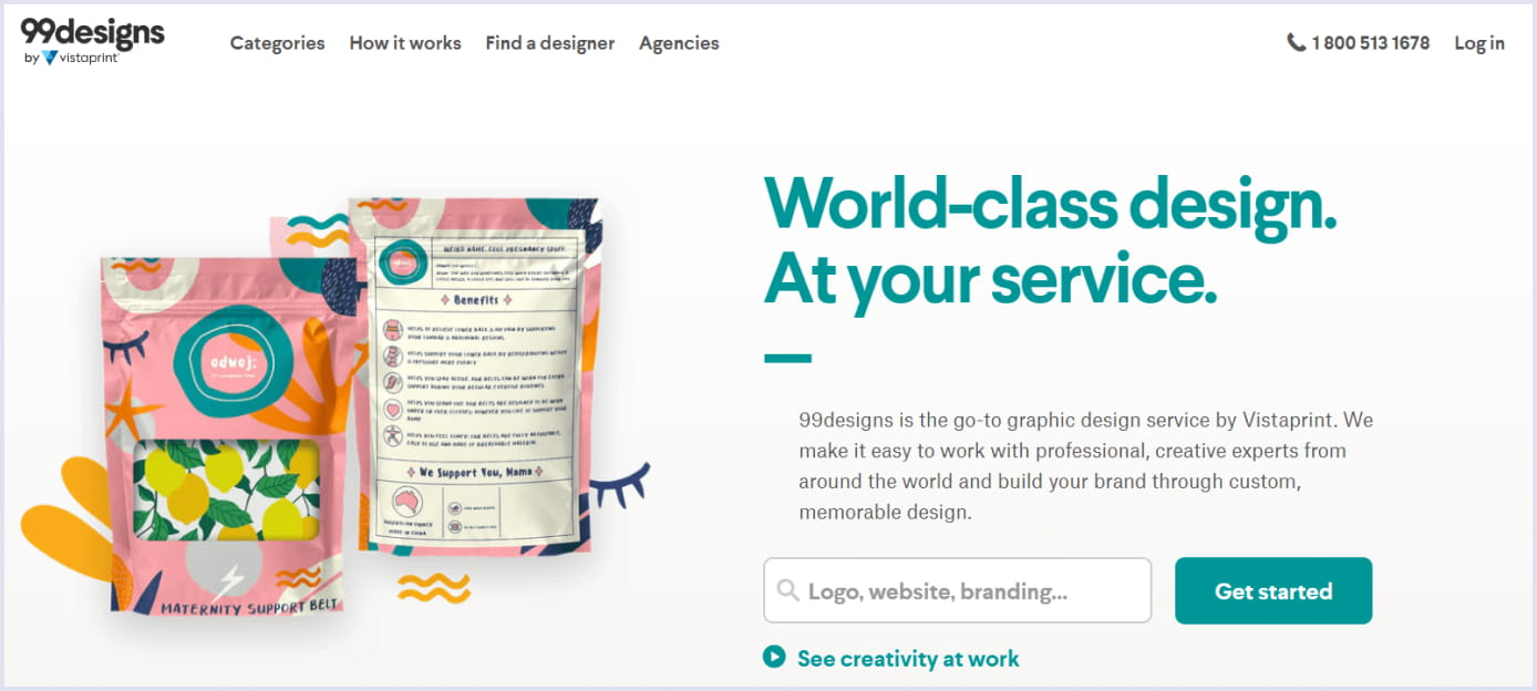 A homepage of an online freelance marketplace 99designs