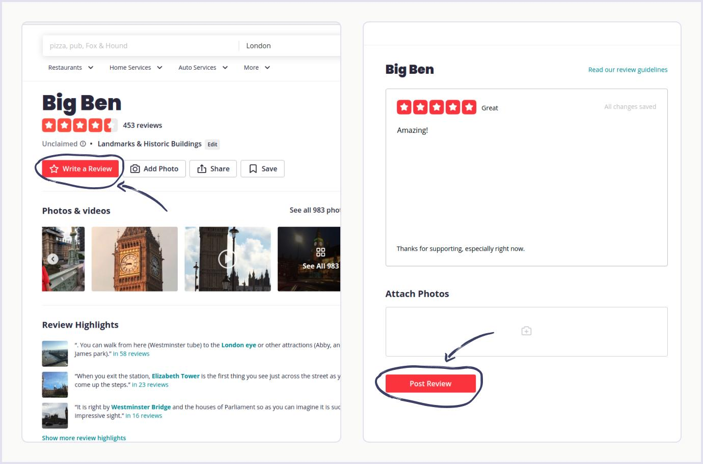 An example of a review on business directory website Yelp