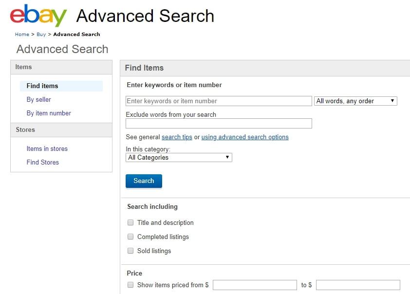 Advanced search marketplace feature on eBay | Codica