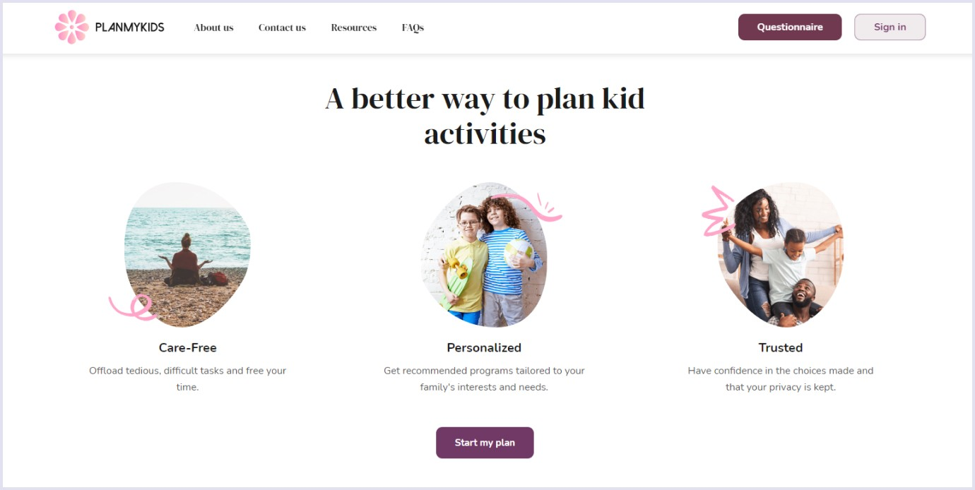 Homepage of online marketplace for kids PlanMyKids