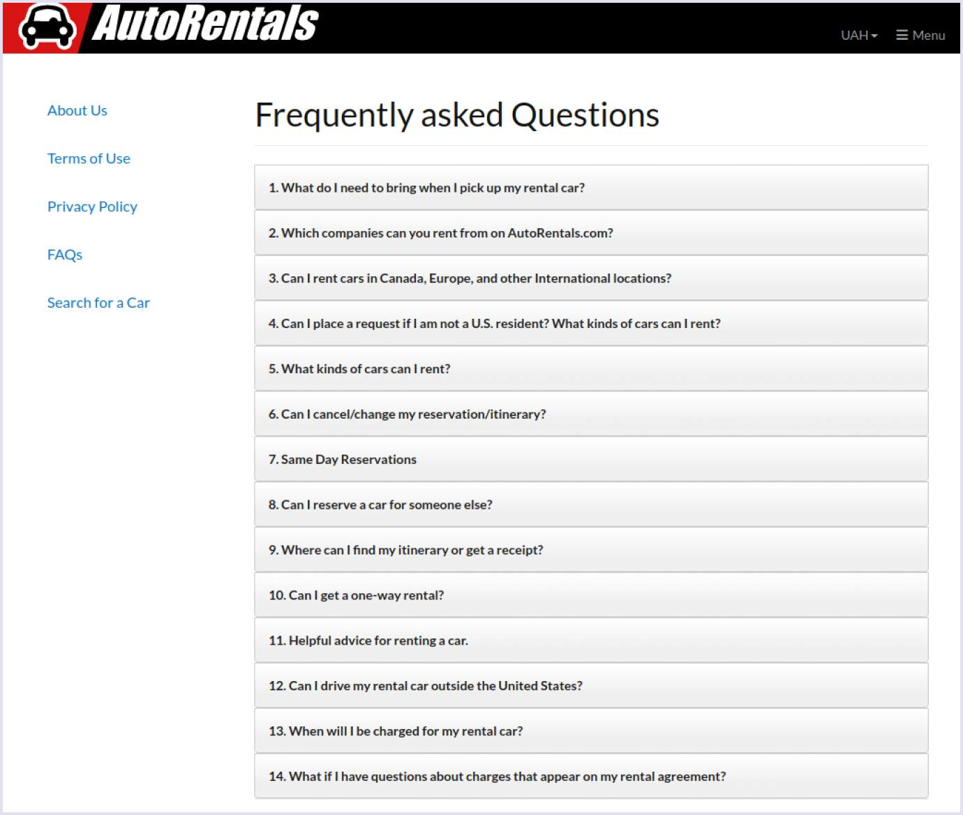Frequently asked questions section on car rental website AutoRentals