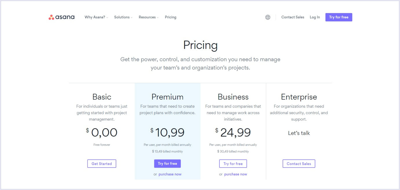 Per-user pricing strategy for SaaS by Asana