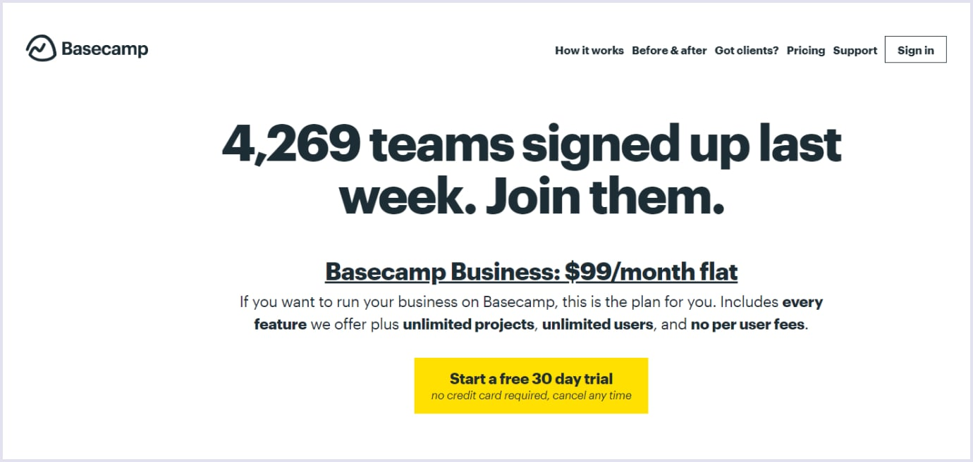 Subscription pricing strategy for SaaS by Basecamp