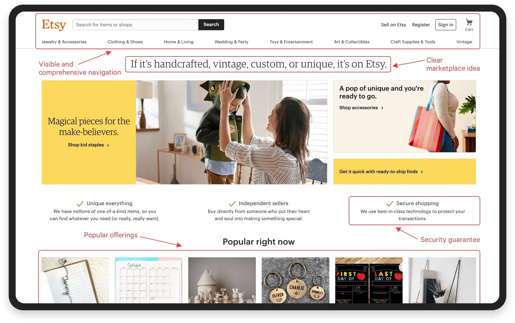 Multi-vendor marketplace navigation example: Etsy | Codica