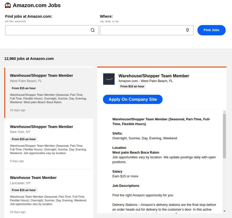 Job listings page on Indeed