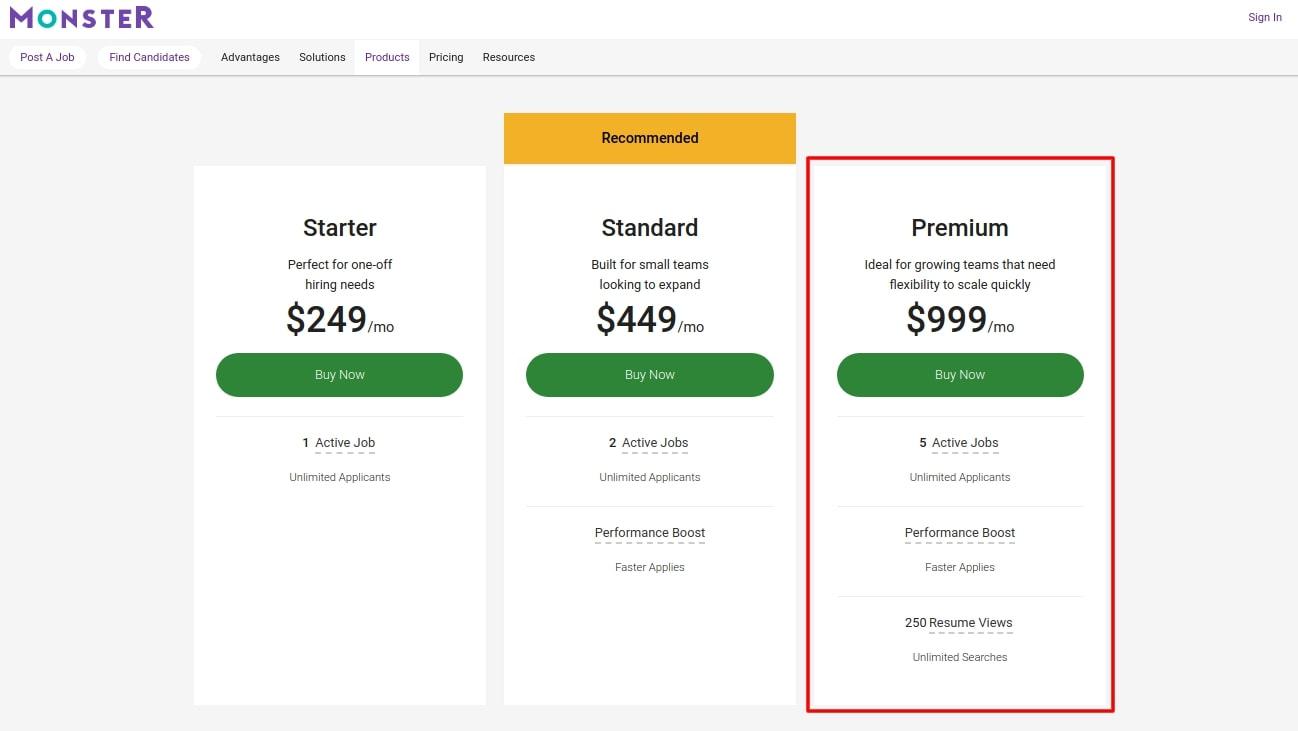 Premium option on Monster