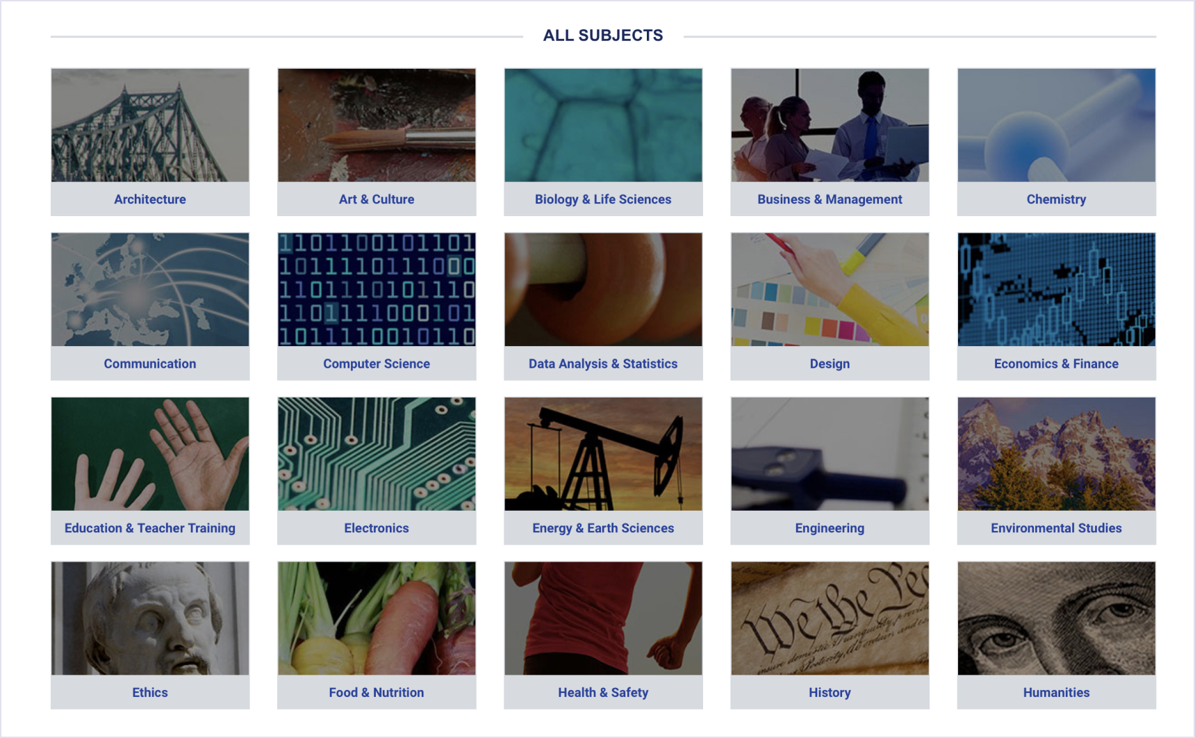 Diverse system of categories on eLearning marketplace edX