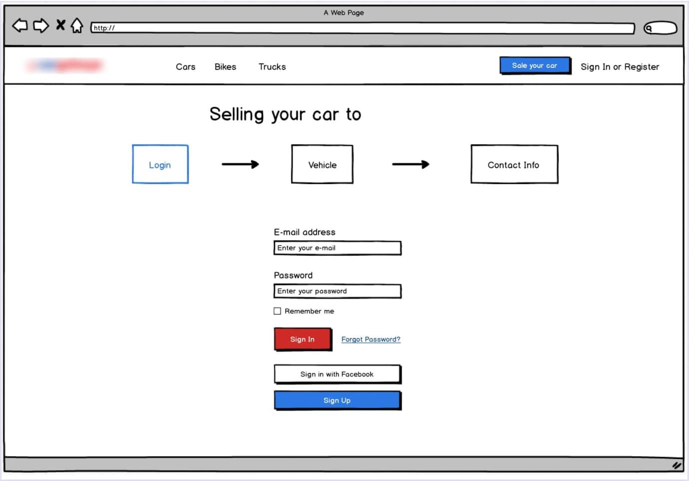 Vehicle marketplace prototype. Step 1: login