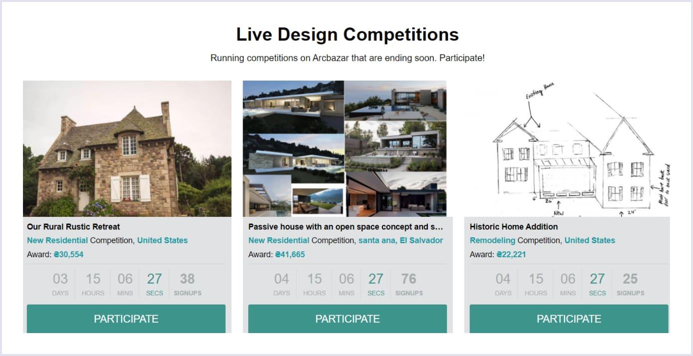 Live Design Competitions on online freelance marketplace Arcbazar