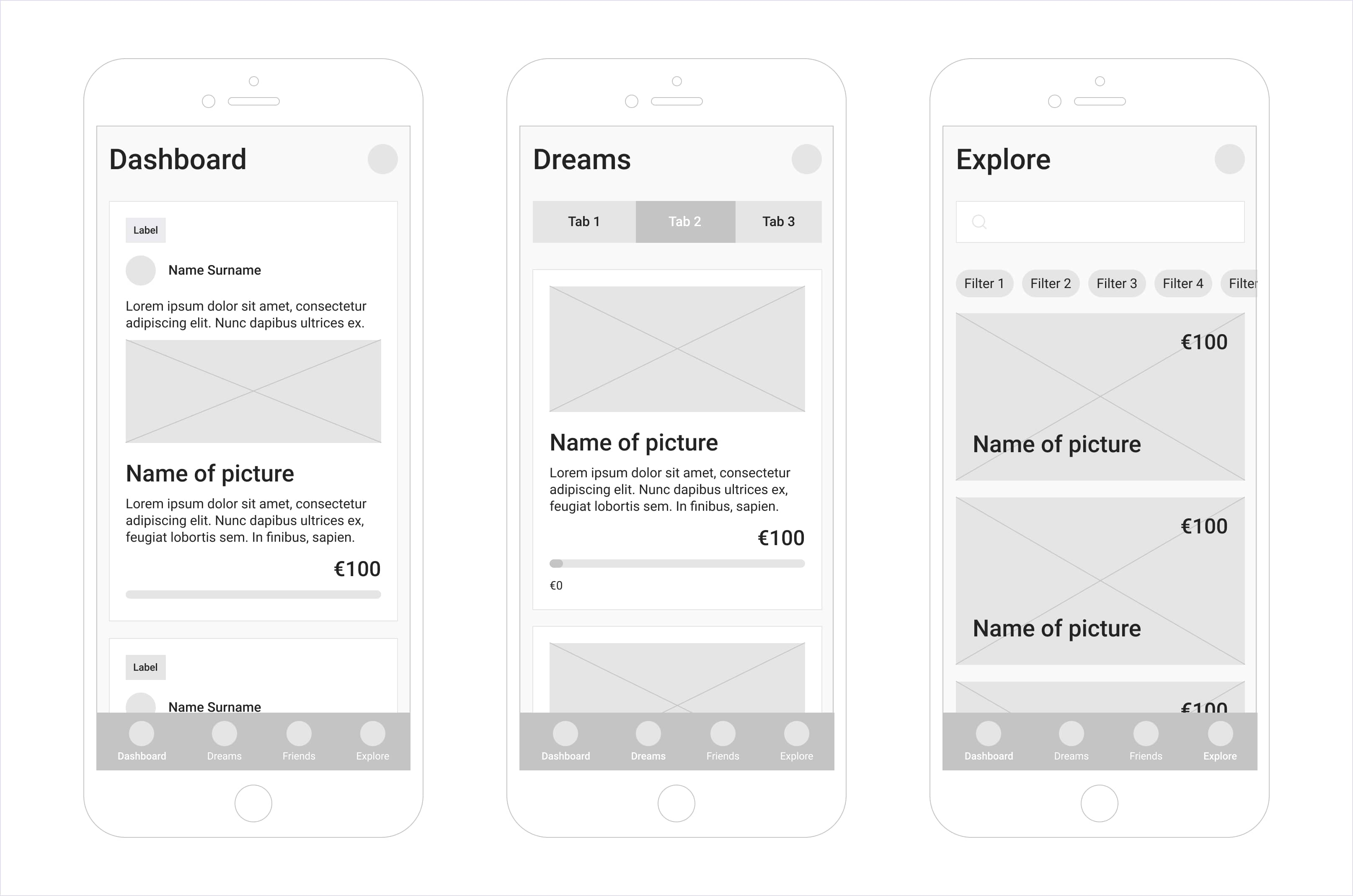 Application wireframes designed by Codica team