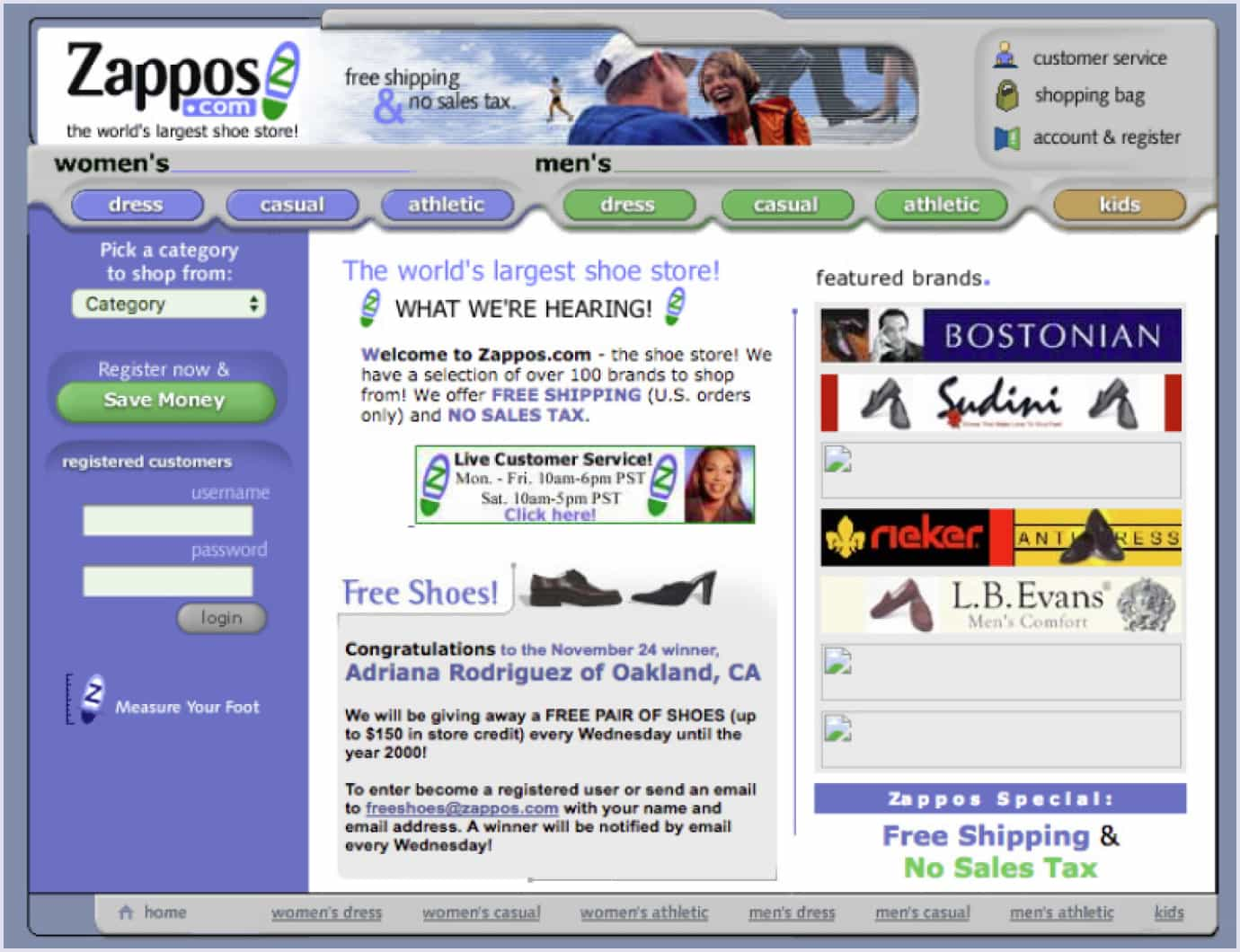 An example of a MVP for the custom software development project by Zappos
