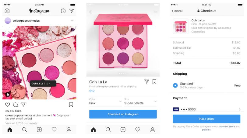 Internal Instagram checkout feature | Codica