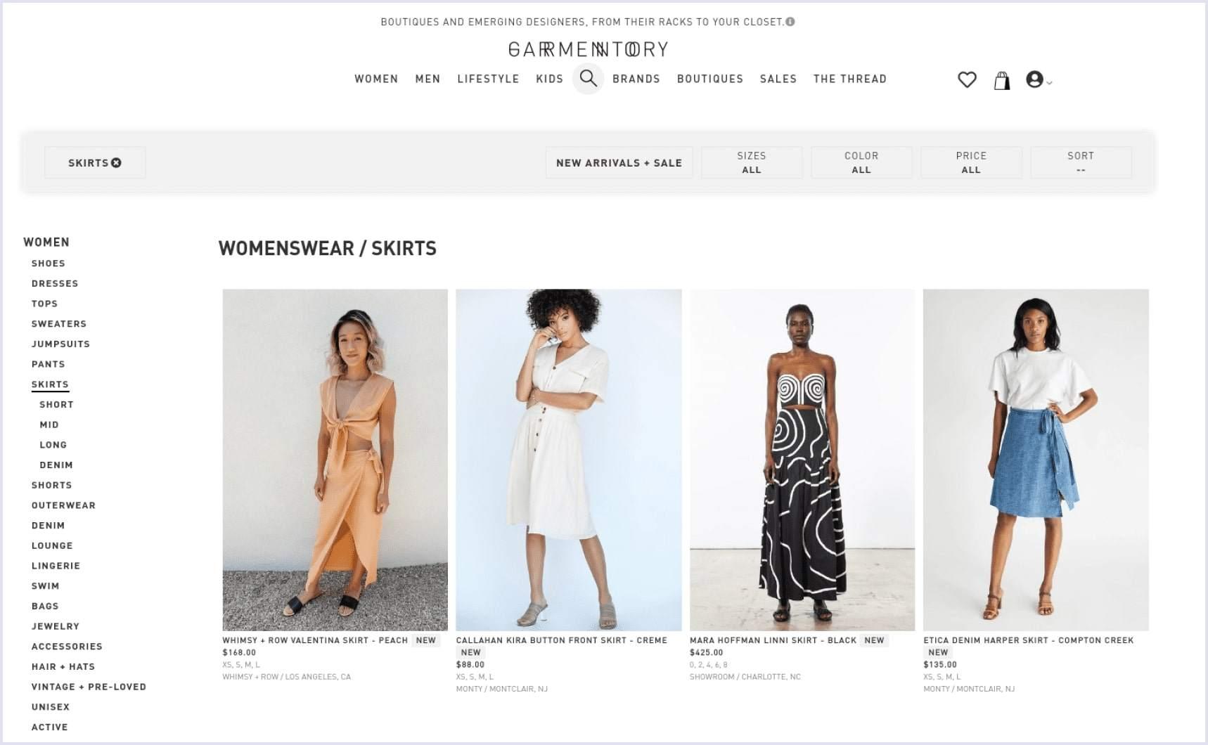 e-commerce site on spree Garmentory | Codica