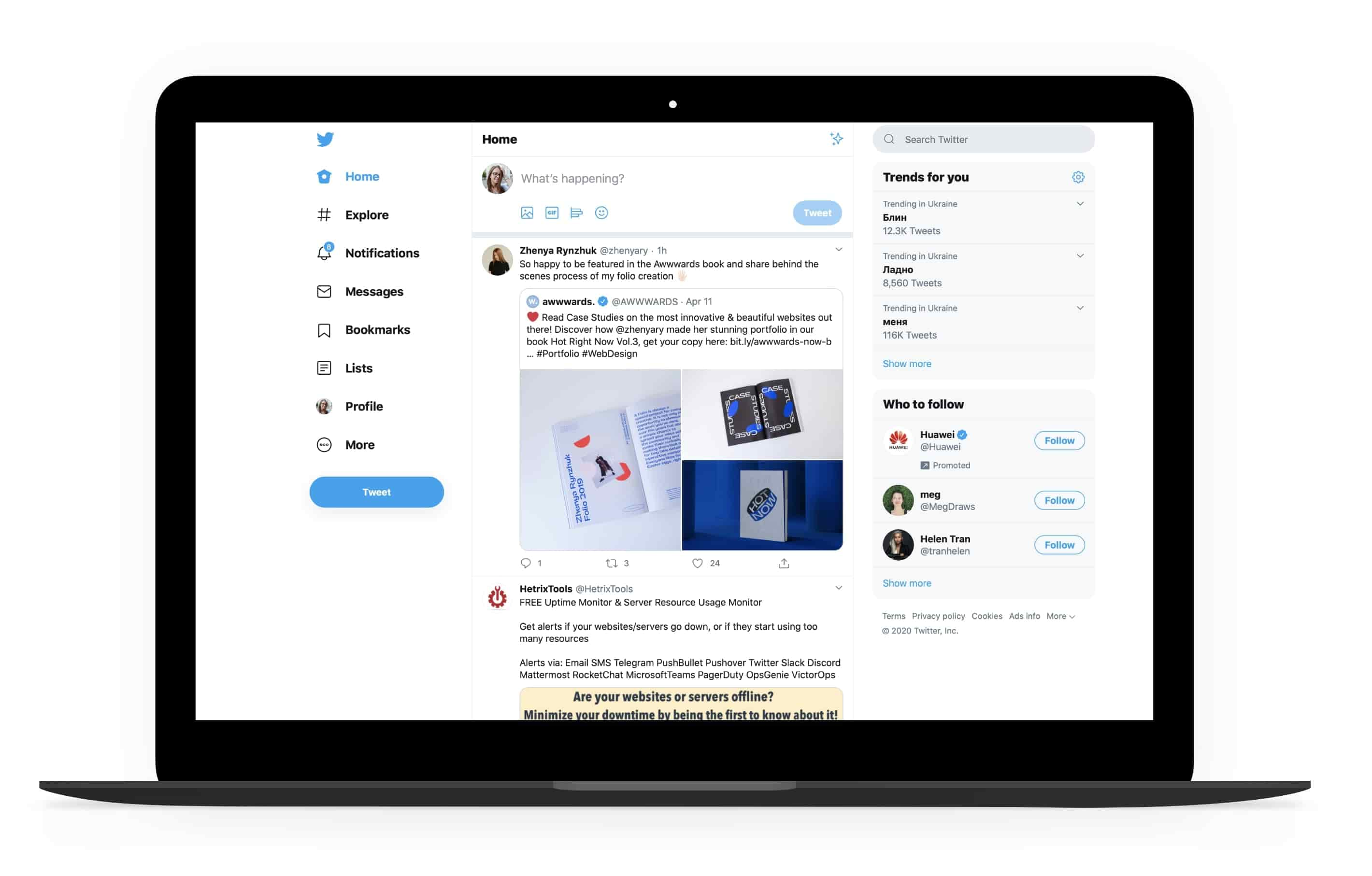 PWA design by Twitter Lite for desktop | Codica