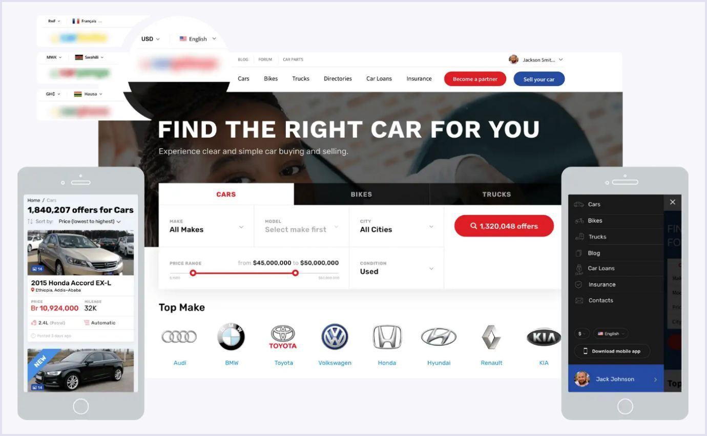 A multi-vendor vehicle marketplace built by Codica team