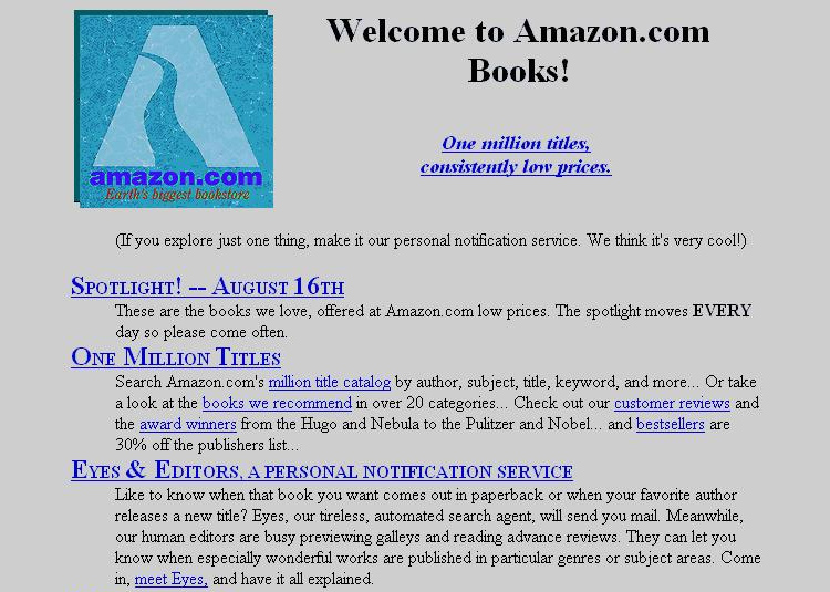 First version of Amazon's website