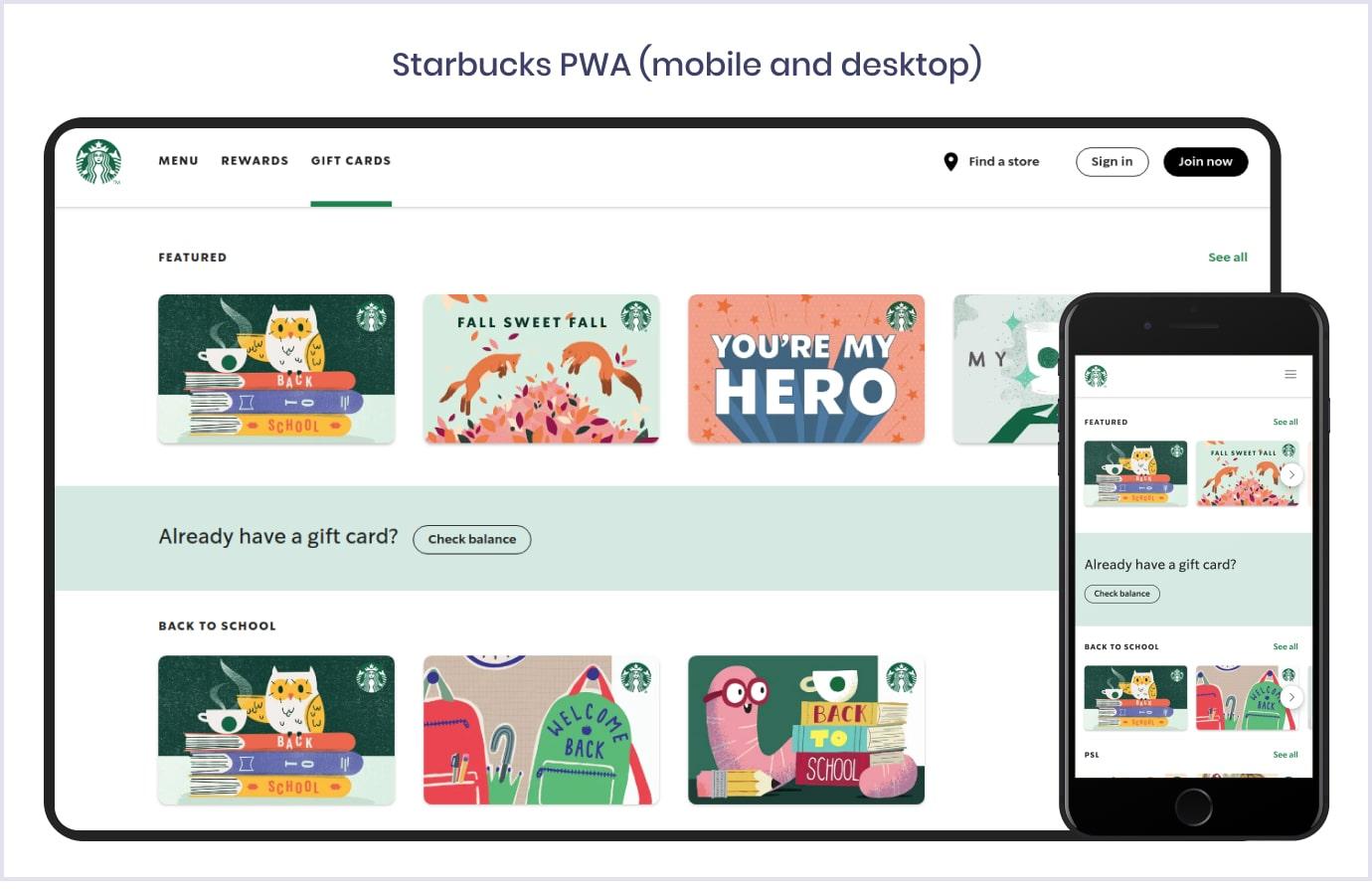 Progressive web app by Starbucks | Codica