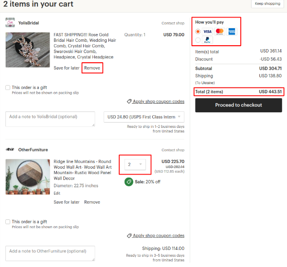 Shopping cart as a key marketplace feature on Etsy   Codica