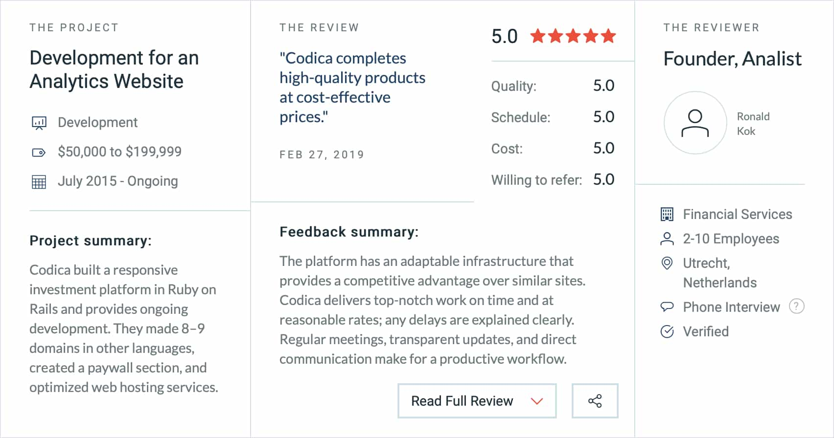 Review on Clutch from our customer for whom we created an enhanced finance analytics platform
