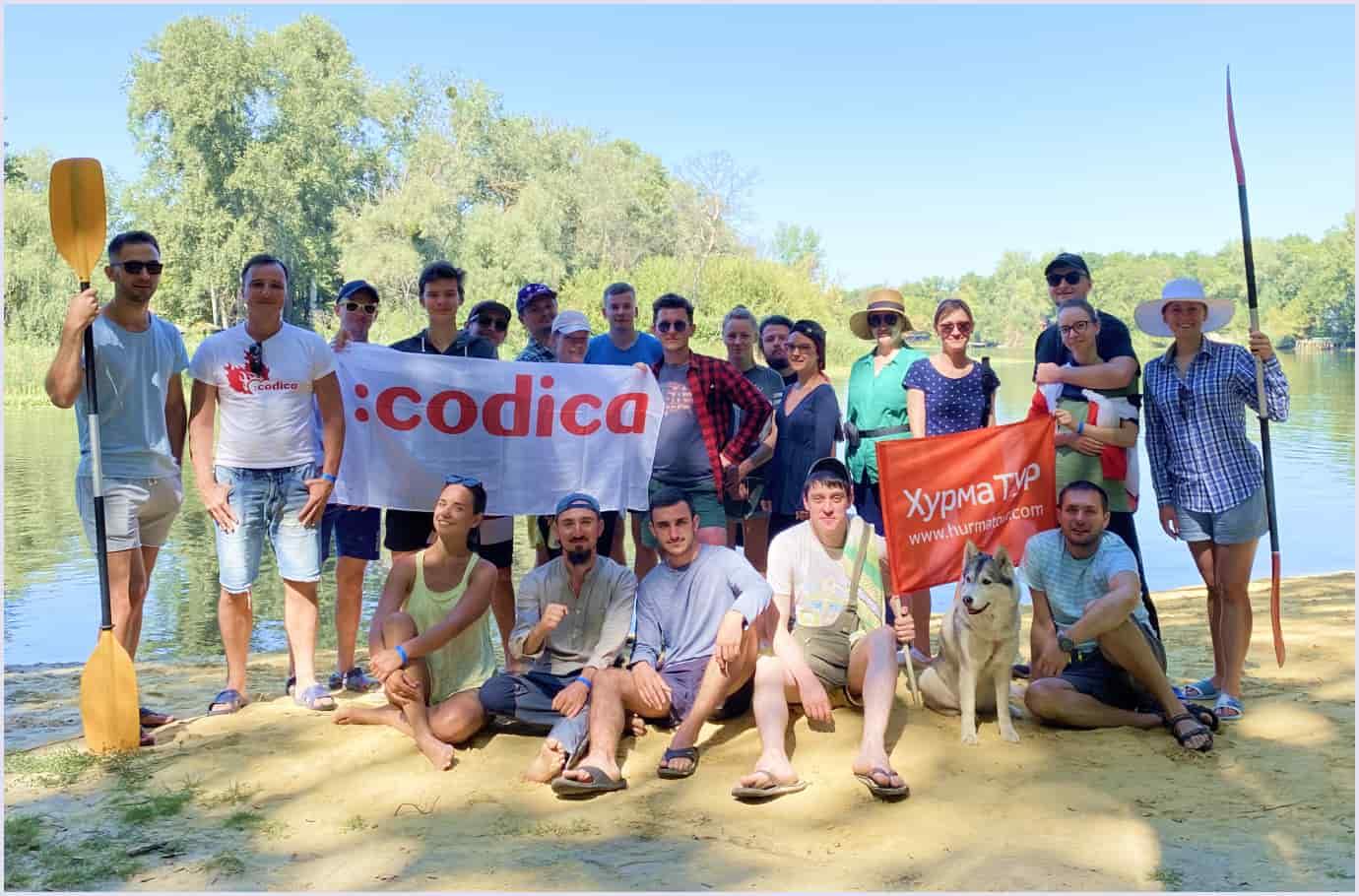 Codica software development team goes kayaking