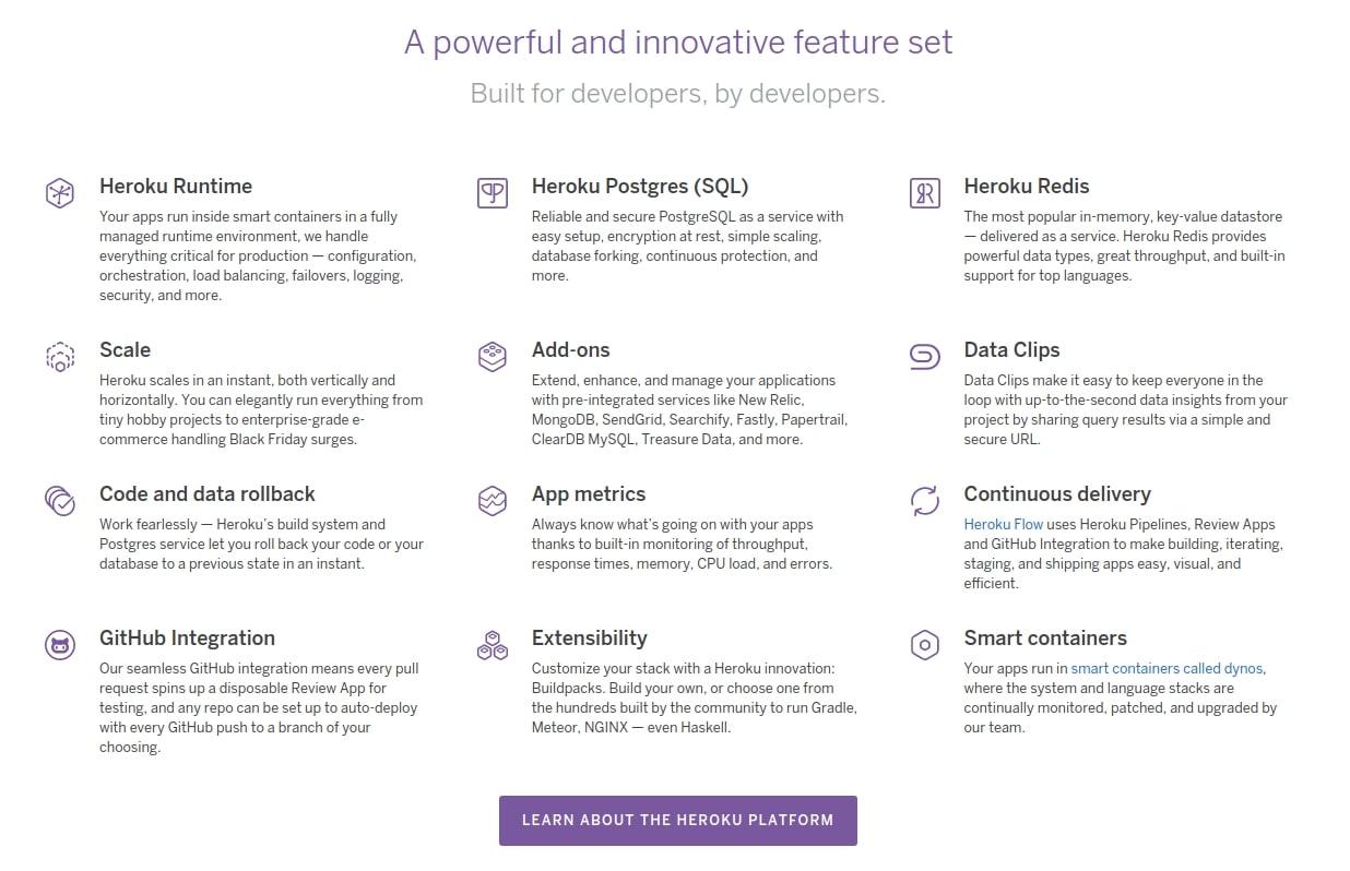 Innovative feature set on the PaaS cloud platform Heroku