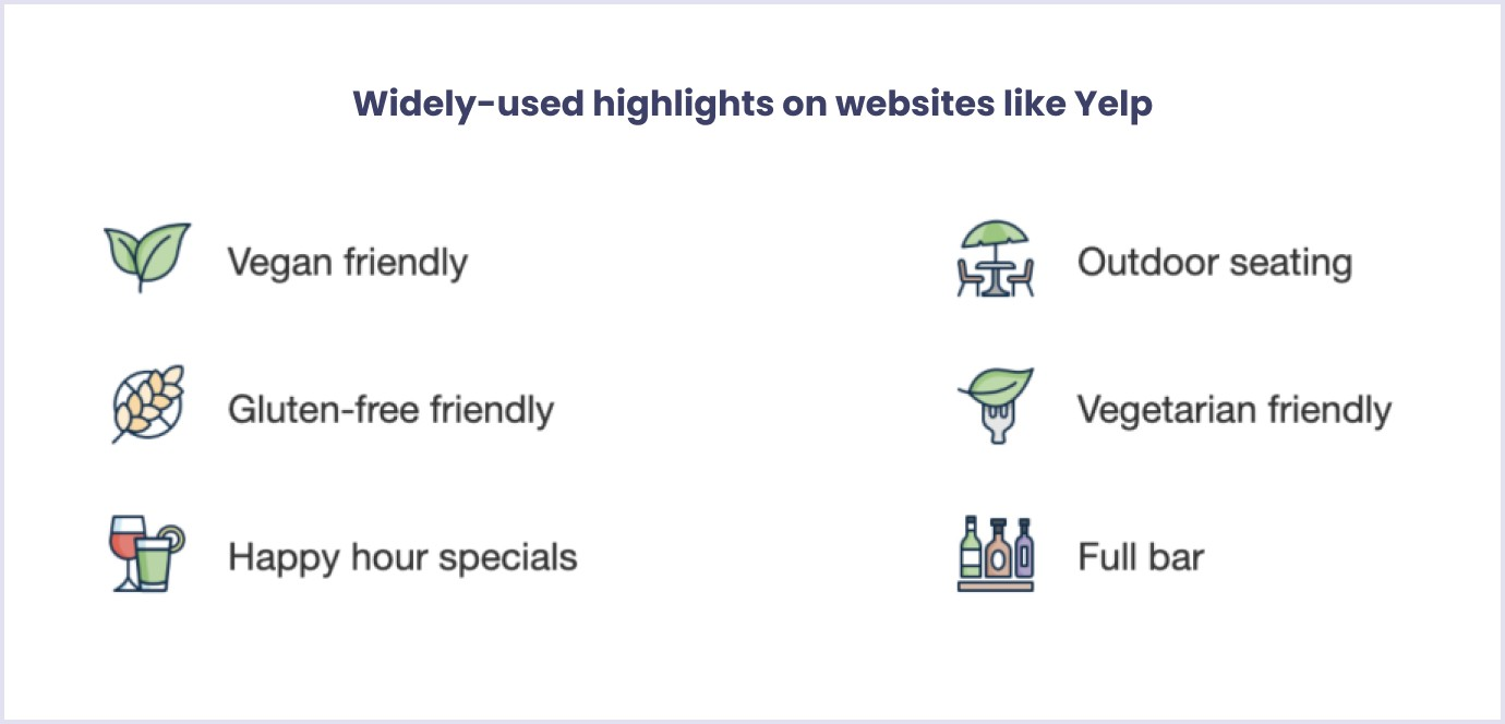 Examples to search through by highlights on websites like Yelp