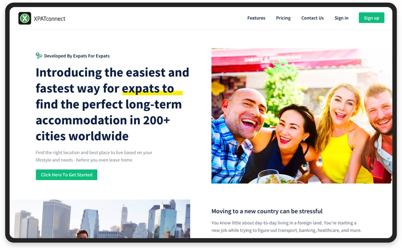 MVP for the accommodation search platform: Home page