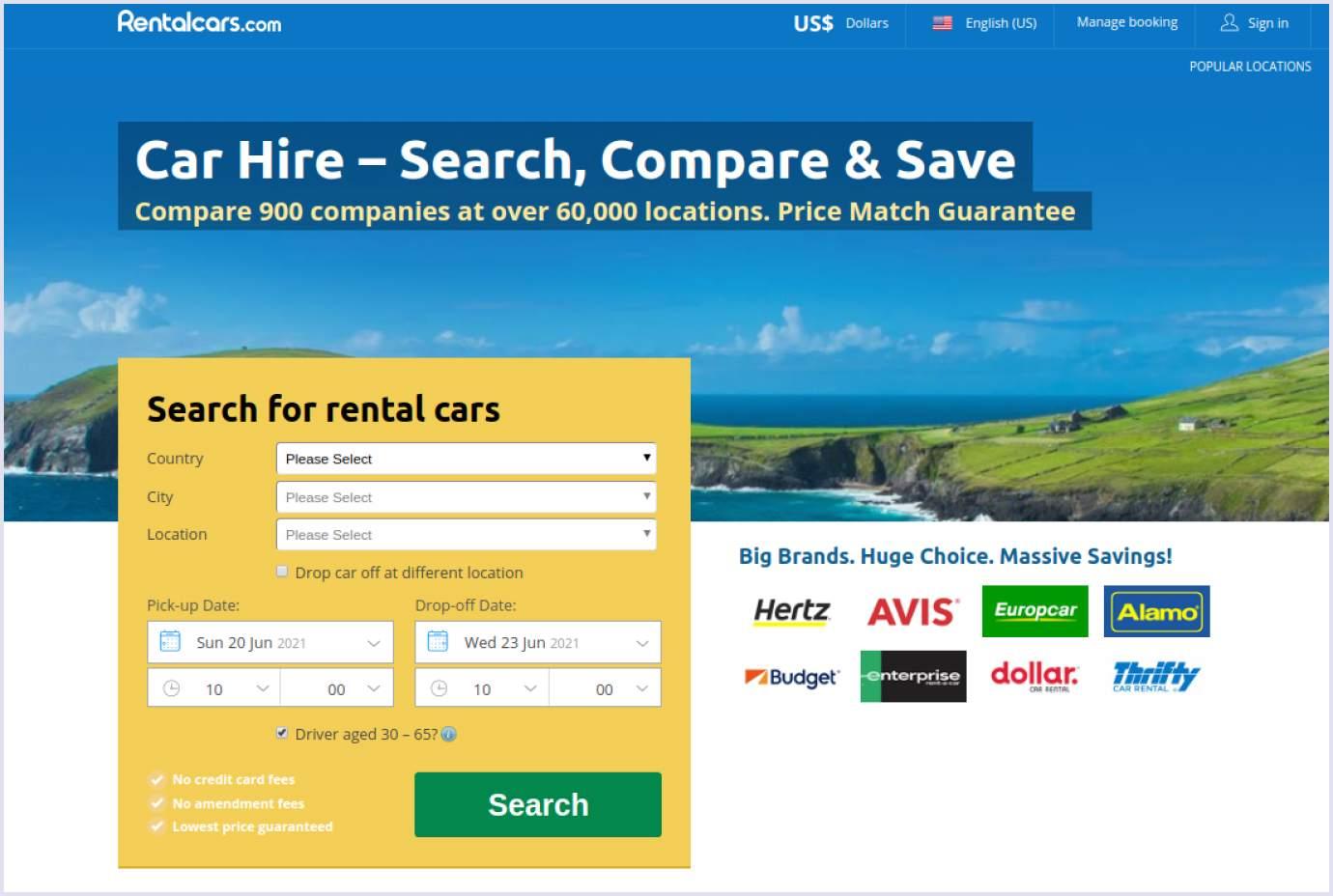 Home page of car rental website Rentalcars