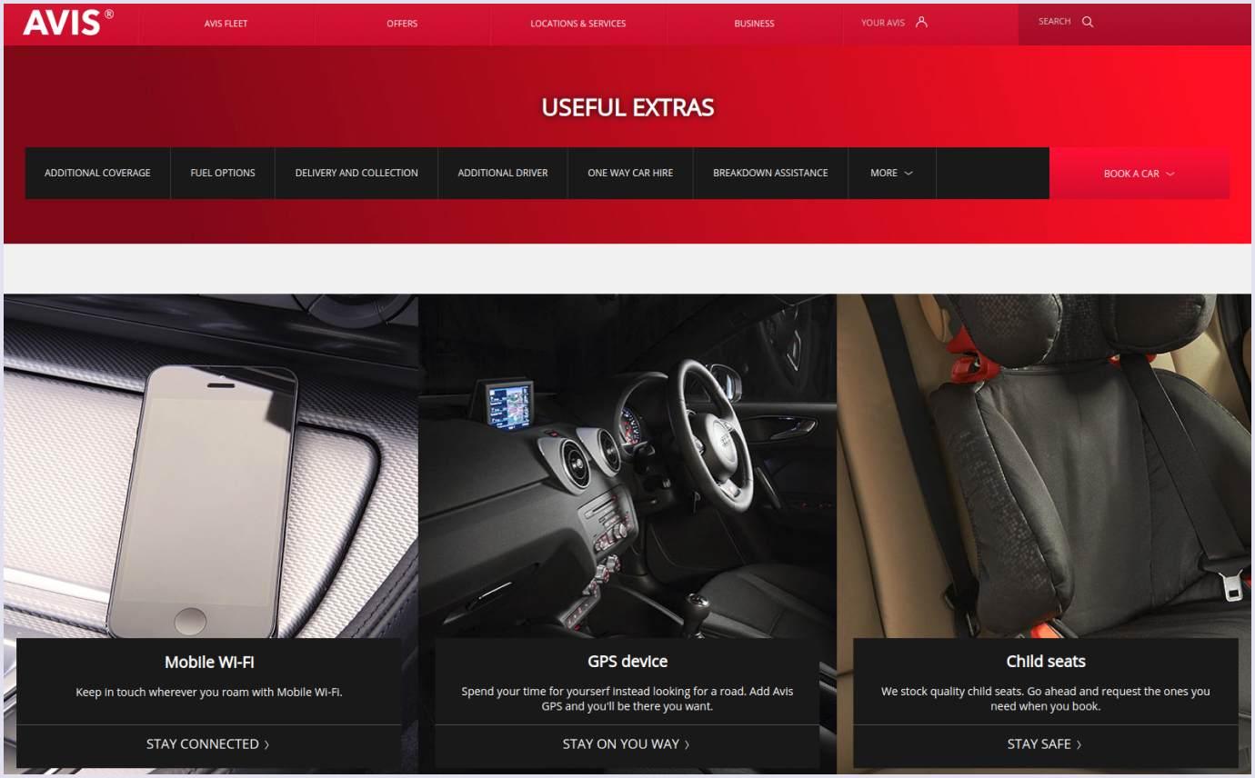 Extra services on car rental website Avis