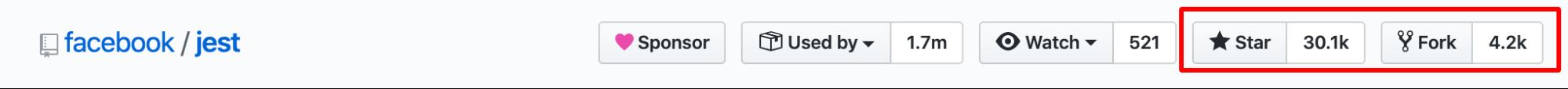 Jest has 30.1K GitHub Stars and 4.2K Forks