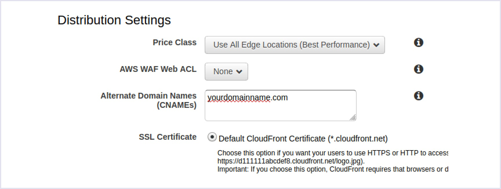 Entering real domain name and getting default CloudFront certificate