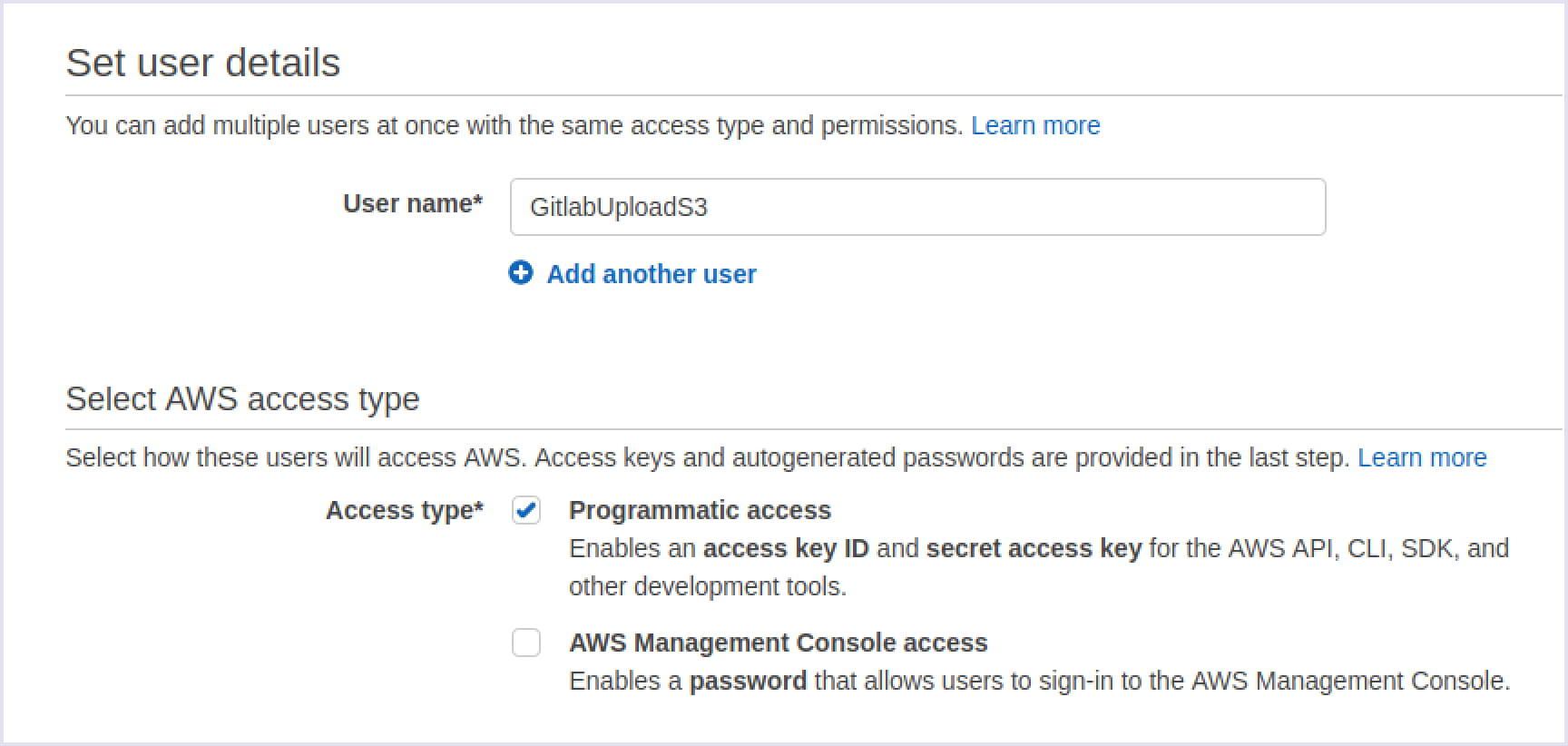 Choose the Programmatic access to AWS