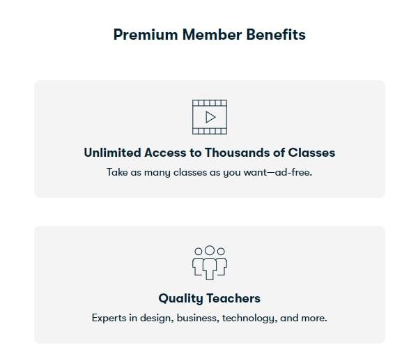 Benefits of the Premium account on education marketplace Skillshare