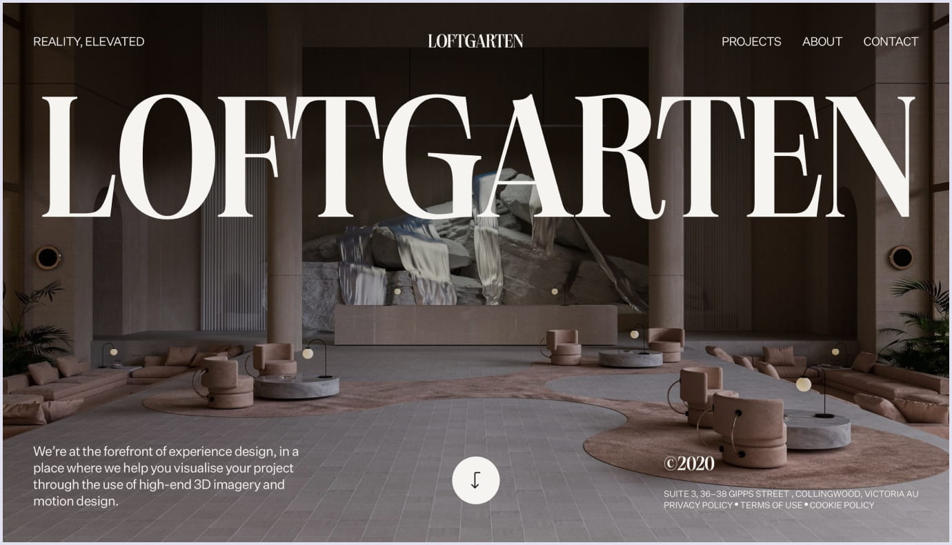 Immensive 3D visuals as a web design trend by Loftgarden