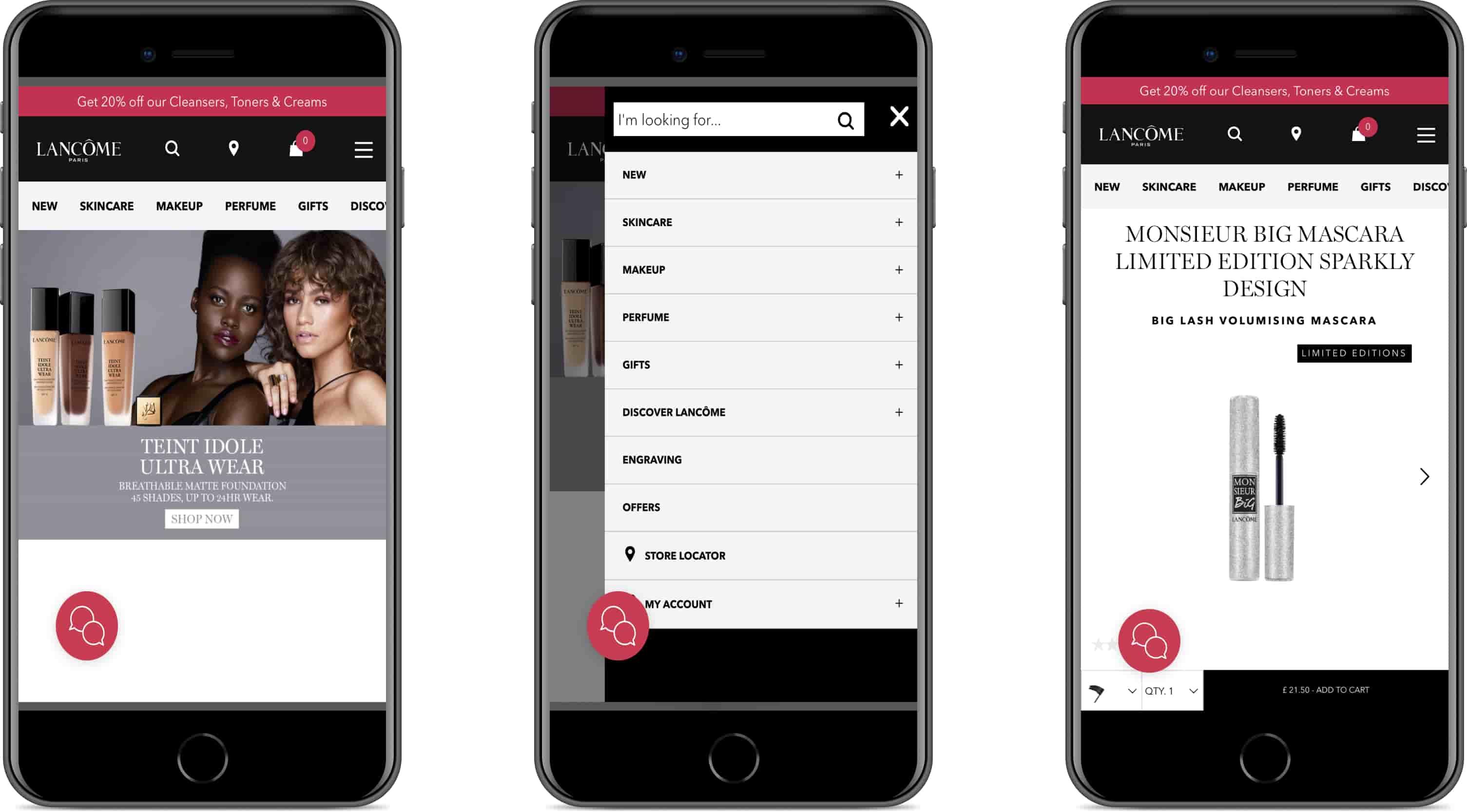 Progressive web app by Lancôme