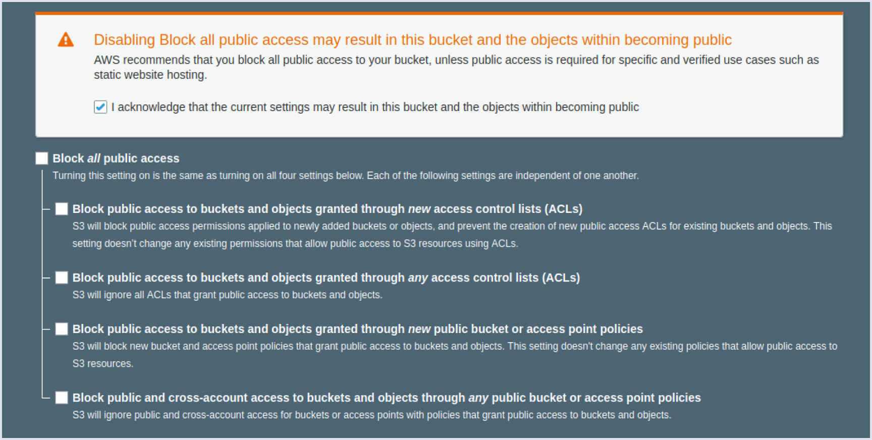 Provide public access to your bucket