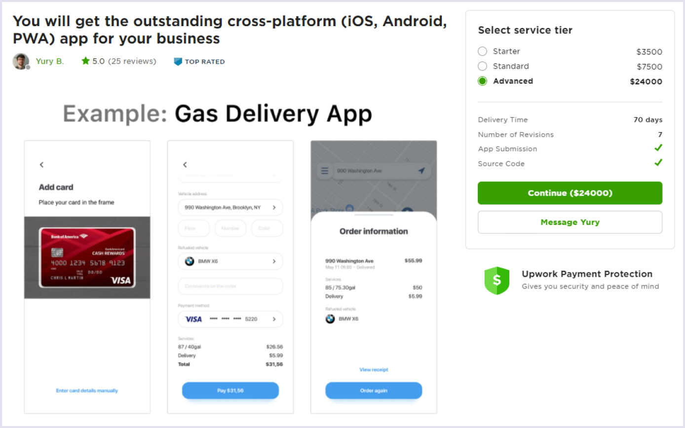 A predifined project on online freelance marketplace Upwork