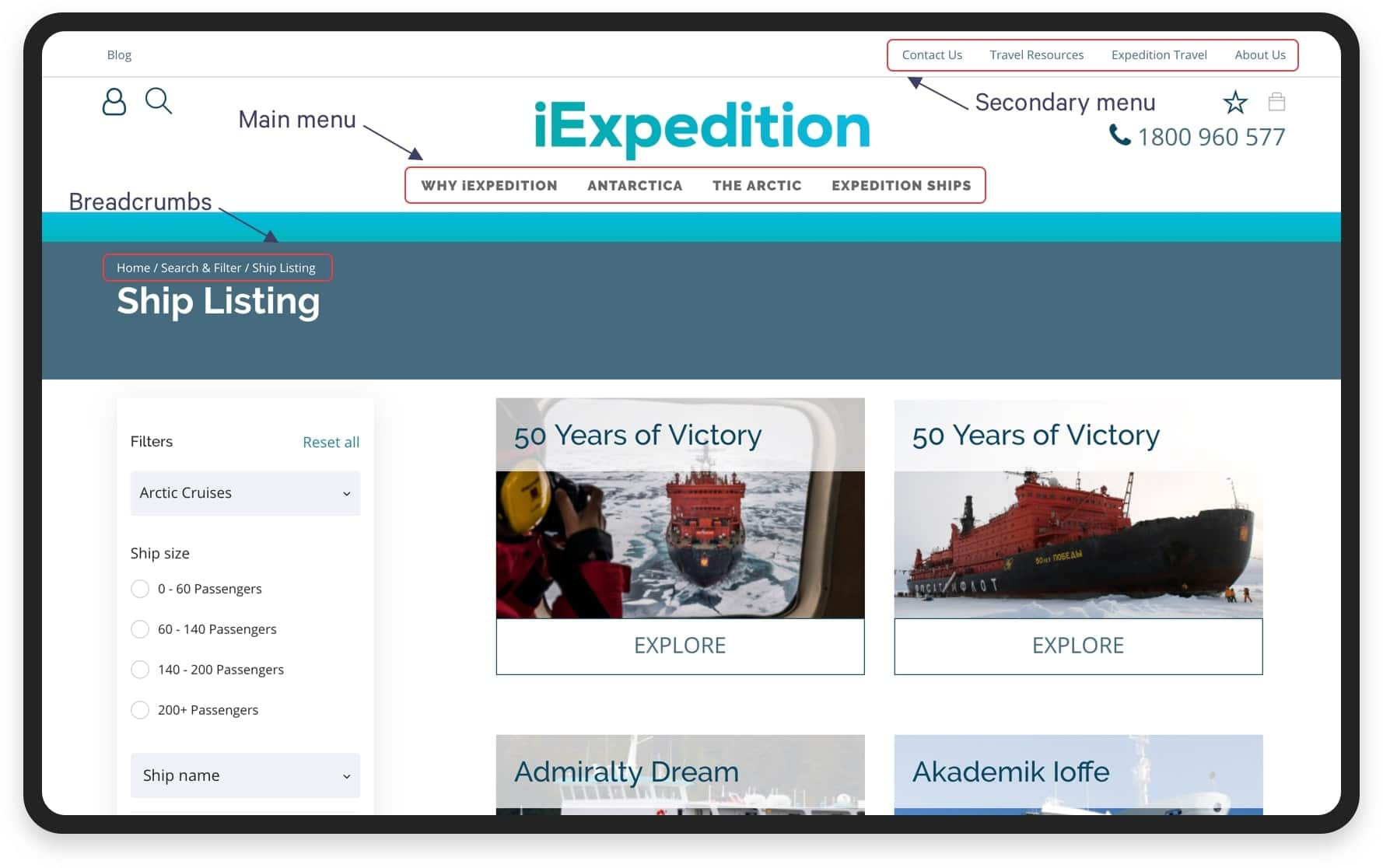 Navigation panel for iExpedition | Codica