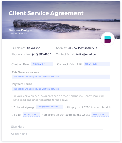 The template of Client Service Agreement | Codica