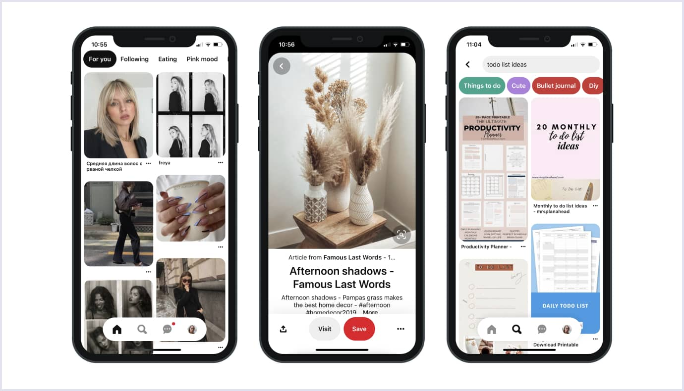Mobile application by Pinterest