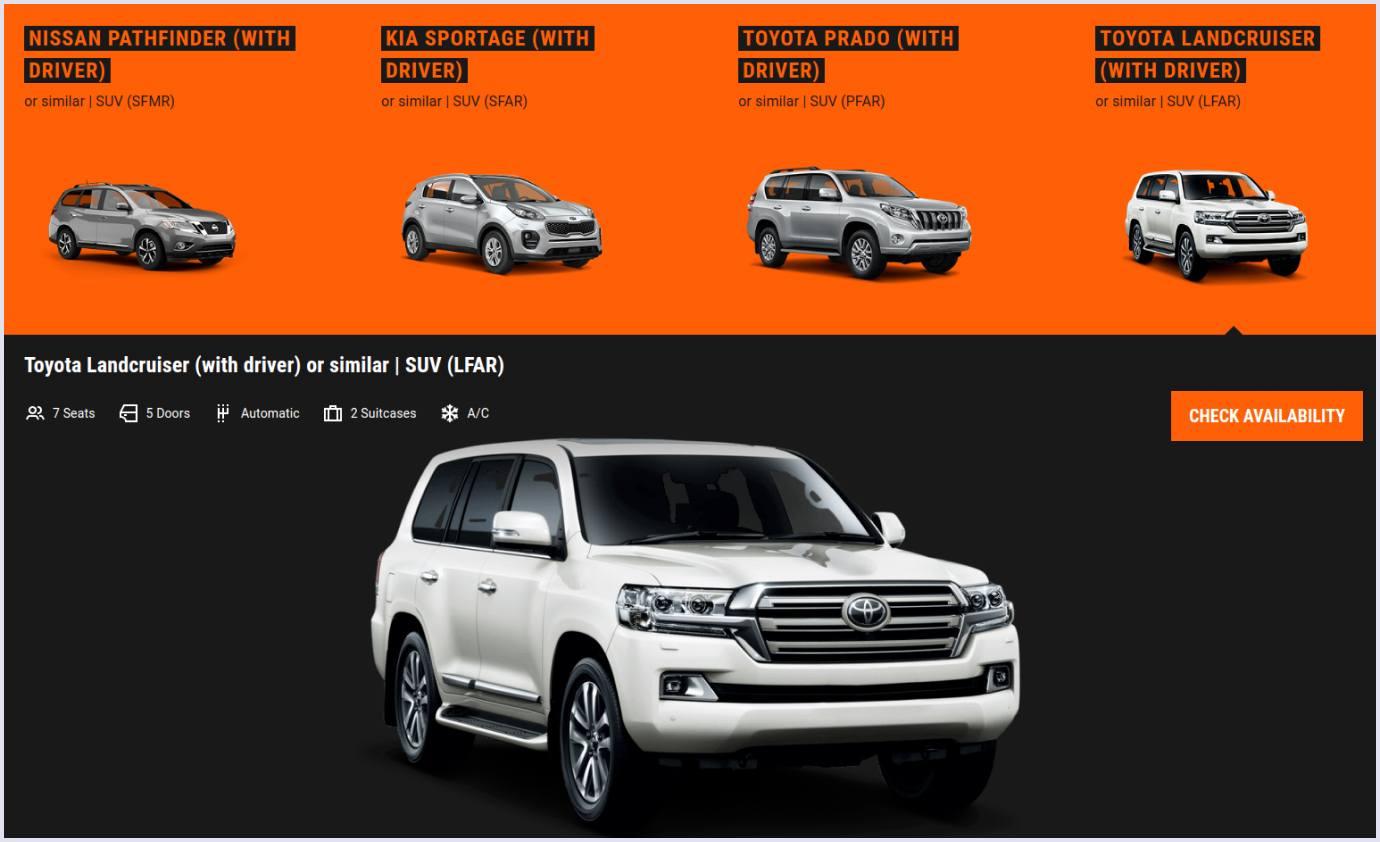 Car fleet on car rental website Sixt