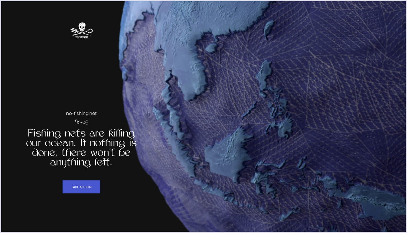 3D visuals as a web design trend by an awareness campaign No-fishing. net